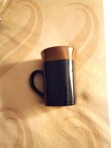 Royal Norfolk Stoneware Black Brown Western Square 14oz Coffee Mug - $7.00