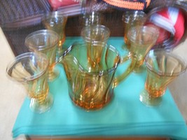 "Beautiful Vintage FOSTORIA ""Jamestown"" Amber PITCHER and  8 ICE TEA GLASSES - $59.31"