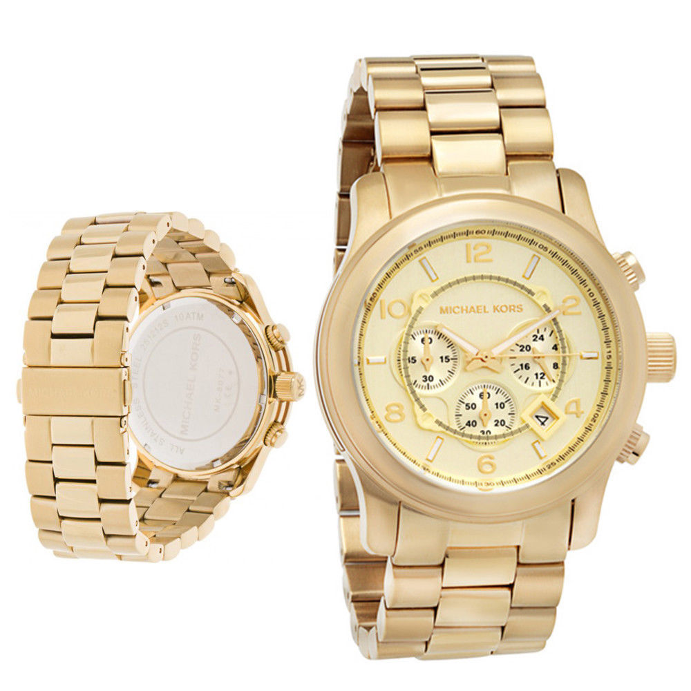Primary image for Michael Kors MK8077 Gold Oversized Runway Chronograph Watch