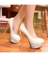 93H010 Lady's platform stiletto pump in candy color, size 4-10.5, beige - $48.80