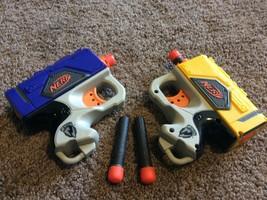 Lot of 2 NERF N-Strike Single Shot Soft REFLEX Guns With 4 darts Pistol Sidearm - $13.85