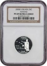 2008-S Hawaii 25c NGC PR 69 UCAM (Silver) Statehood Quarter - $24.25
