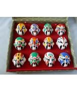 Vintage Japanese Kabuki Masks Set 12 Mini Painted Theater Authentic Box ... - $163.21