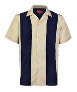 Men's Retro Charlie Sheen Two Tone Guayabera Bowling Casual Dress Shirt - $19.78