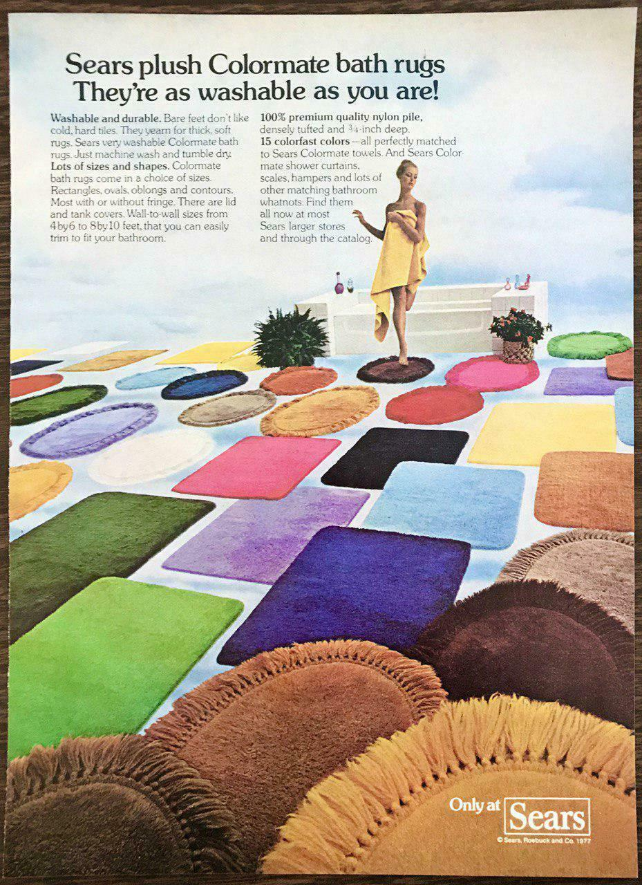 Primary image for 1977 Sears Plush Colormate Bath Rugs Print Ad They're As Washable As You Are