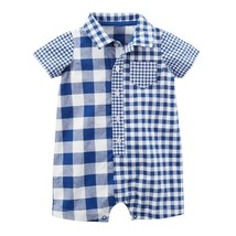 Carter's Baby Boy Plaid Buttoned Romper One-Piece - New Born - $10.77