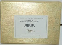 Caspari 85605 48 Rive Gauche Green White 6 Thank You Notes and Envelopes Blank image 2