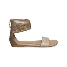 UGG SAVANA METALLIC SOFT GOLD WOMENS LEATHER STRAP ANKLE SANDALS SIZE US... - $90.96 CAD