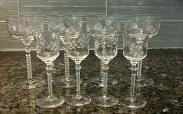 Antique Vintage Fostoria Etched Crystal Wine Cordial Glasses, Ribbed Stem - $100.00