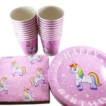 Rainbow Unicorn Birthday Party Supplies - 20 Plates, Cups & Napkins - Pr... - £12.51 GBP