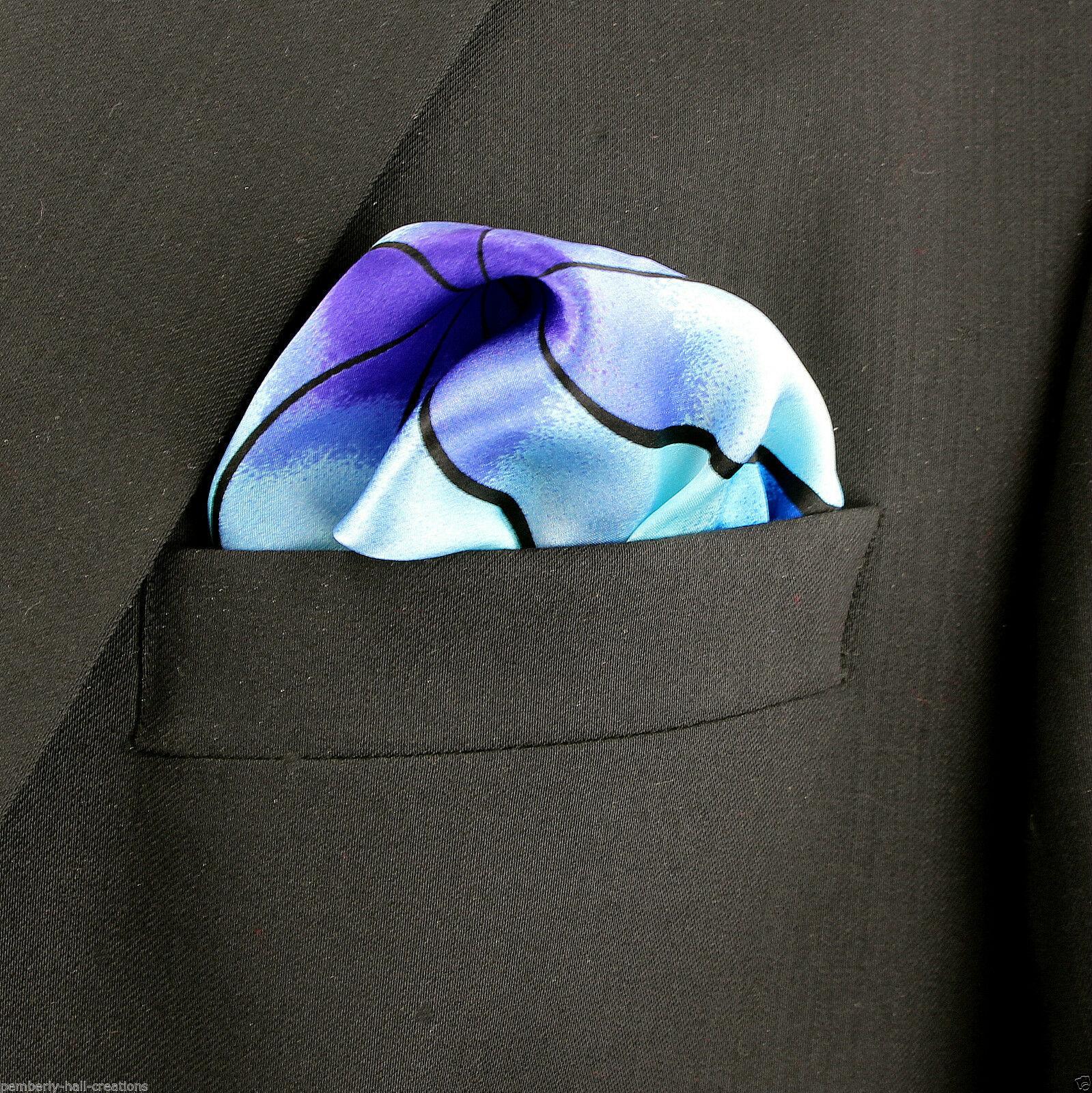 Men's Pocket Square Handkerchief Wedding Fashion Dress Diamond Silk Black Hanky