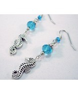 Seahorse Crystal Charm Earrings Blue and Silver - $15.00