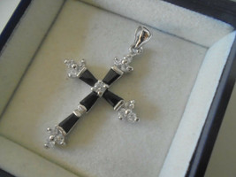 CROSS PENDENT CHARM plated in white gold and with white crystals Origina... - $35.00