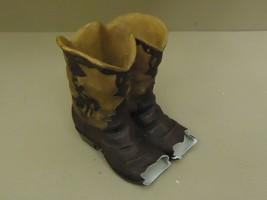 Western Planter Cowboy Boots Flower Pot Brown For Garden Plaster - $34.49