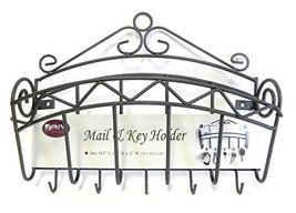 Mail and Key Holder Organizer Wall Mounted Black Metal image 3