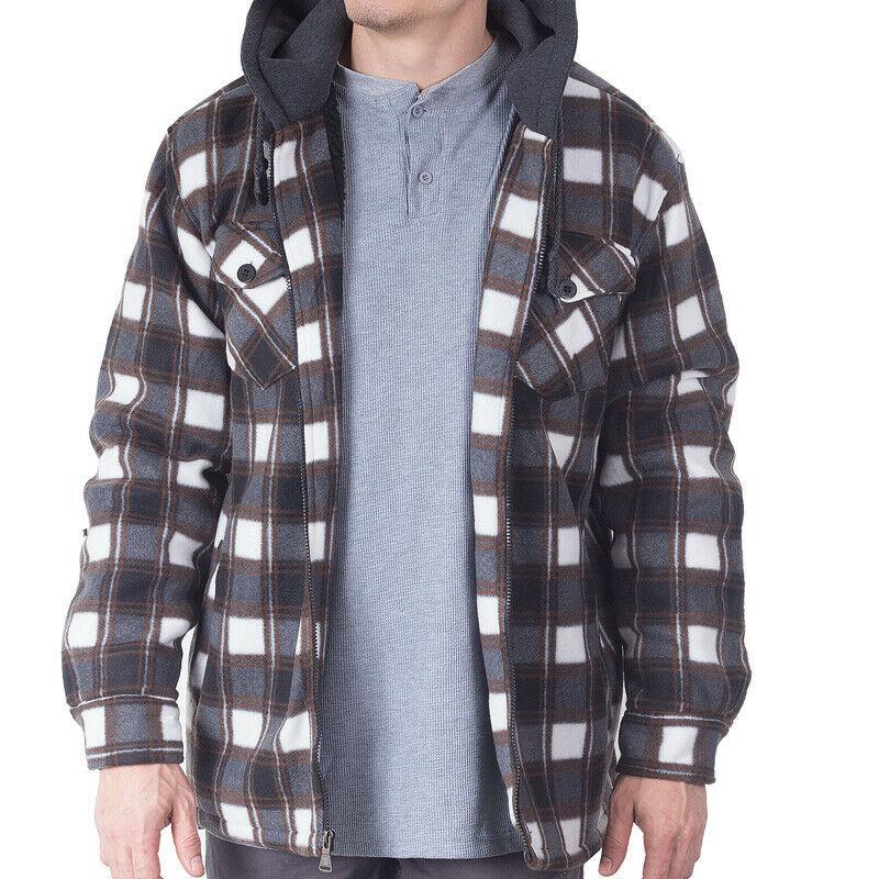 Visive Men's Zip Up Heavyweight Hoodie Soft Sherpa Lined Plaid Jacket - 4XL