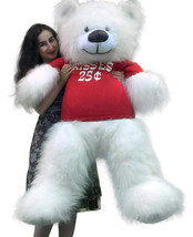 Valentine's Day Giant White Teddy Bear 55 inches Wears Tshirt KISSES 25 ... - $117.11