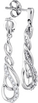10kt White Gold Round Diamond Dangle Teardrop Screwback Earrings 1/6 Ctw - $239.70