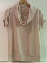 Calvin Klein Womens Cowl Neck Top Animal Print Burnout Short Sleeve Tan XS - $13.95