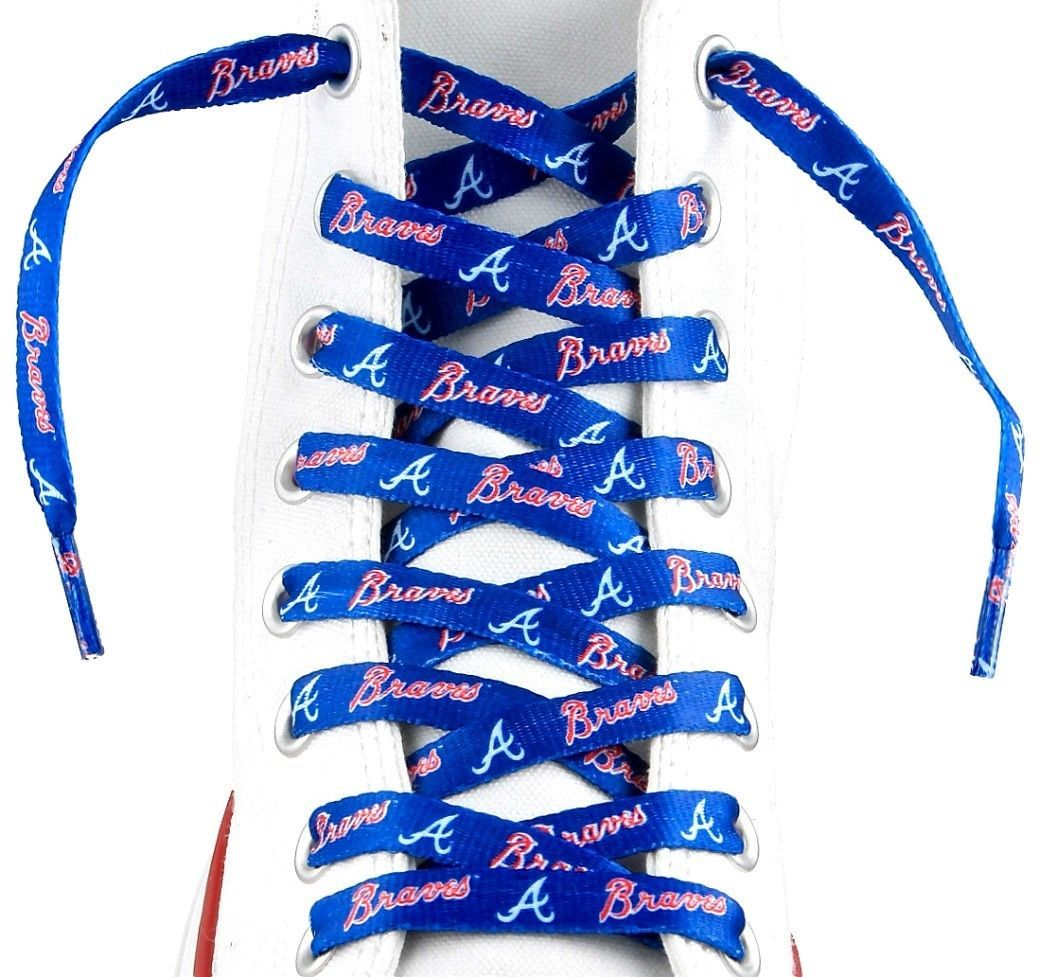 "ATLANTA BRAVES TEAM LOGO SHOE LACES 54"" *LACEUPS* GAME DAY MLB BASEBALL"