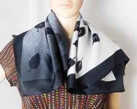 "Woman's Fashion Scarf  26 1/2"" x 27"" - Black Gray Leaf Pattern - Beautiful! - $8.59"