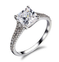 Solid 925 Silver White Topaz Prong Setting Princess Cut Womens Engagemen... - $179.99