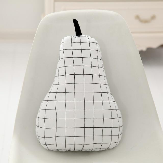 Aesthetic Minimal Grid Monochrome Fruit Throw Pillow