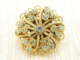 Gold Tone Grey Gray Flower Open Work Gold Tone Pin Brooch Vintage - $19.80