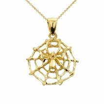 "14K Solid Fine Yellow Gold Spider Web Charm Pendant Necklace 16"" 18"" 20""... - $158.30+"