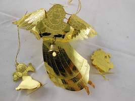 """Angel Beautiful Gold Brass 4.5"""" Christmas Ornament plus 2 small bear and doll - $7.71"""