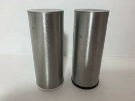 MCM Style Salt & Pepper Shakers Stainless Steel 3 1/4 Inches - £8.78 GBP