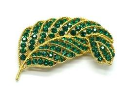 Lisner Green Rhinestone Leaf Gold Tone Pin Brooch Vintage - $29.69