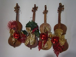 Rustic  Wooden Violins Christmas Ornaments Home Deco 14' long Free shipping - $49.00