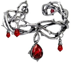 Passion Thorny Pewter Red Crystal Blood Droplets Alchemy Gothic Bracelet A80 - $58.95