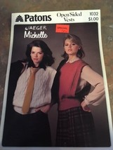 NEW PATONS KNITTING PATTERN 1984 WOMEN'S OPEN SIDED VESTS 1032 JAEGER MI... - $7.79