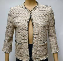 St John Collection Jacket Tweed Fringe Open Front Blazer 36 Bust Marie Gray - $116.88