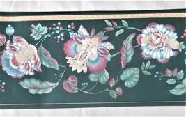"Sanitas Wallpaper Border Green Jacobean Floral 15 ft x 6-3/4"" wide - $14.74"