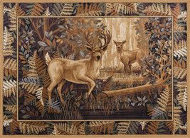 Lodge Cabin Deer Buck Rustic Forest Area Rug **Free Shipping** - €122,34 EUR+