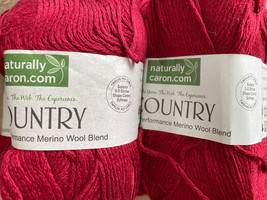 Naturally Caron Country Yarn 75% Acrylic 25% Merino Wool Claret Red 0017 3oz New - $24.19