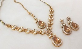 Indian Gold Plated Yellow Rhinestone Fashion Bridal Wedding Necklace Jewelry Set - $16.34