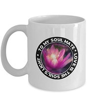 An item in the Pottery & Glass category: Soulmates Coffee Mug Tea Cup 11 Oz With Pink Lotus Flower - To My Soulmate - Hus