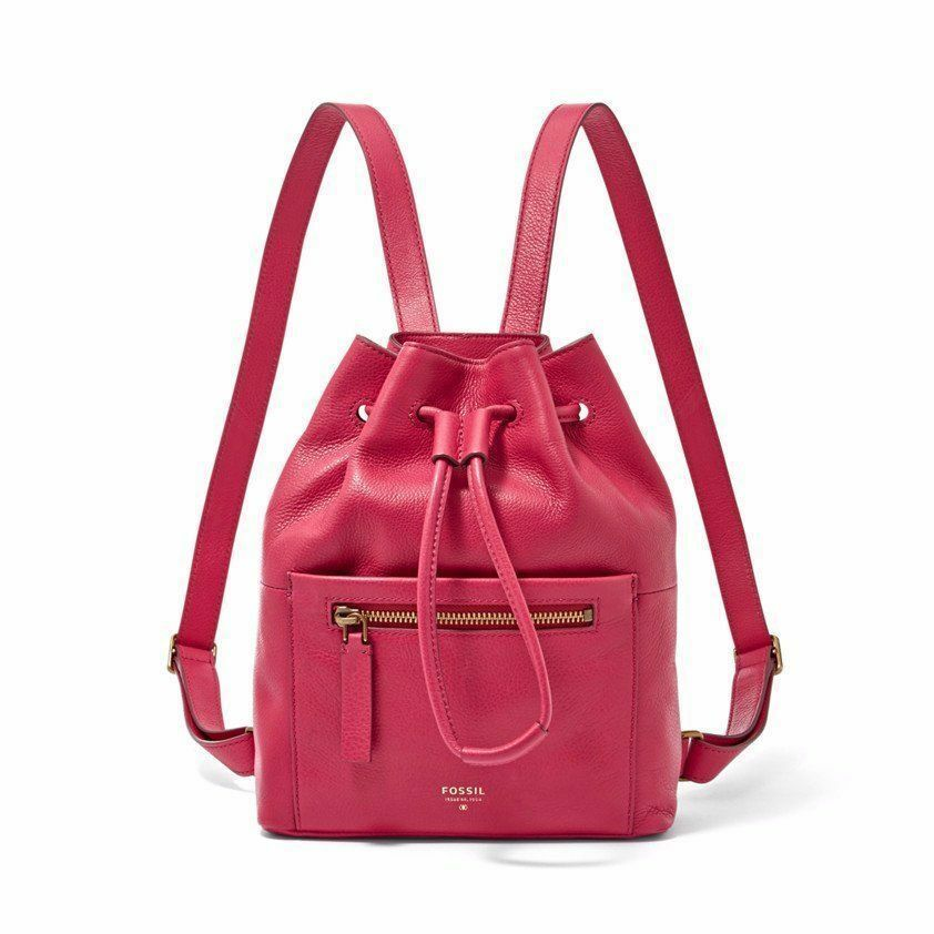 New Fossil Vickery Drawstring Leather Women Mini Backpack Variety Colors