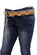 Damen Beige Kunstleder West Lang Fransen Tie Modischer Gürtel Silberring... - $28.37