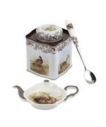 SPODE WOODLAND by PIMPERNEL 3pc TEA & SPOON REST/ TIN TEA CADDY SPOON GIFT BOX - $22.34