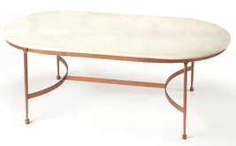 Horchow Rose Gold Copper White Marble Oval Coffee Table  Modern New - $649.00