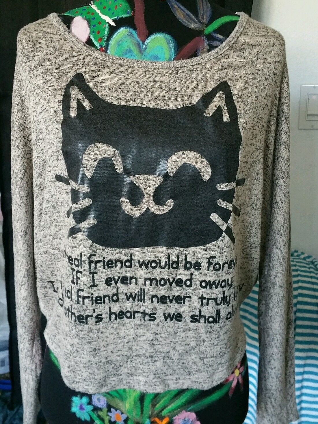 Pinkberry Black Cat Friendship Poem Knit Top Long Sleeve Size Med