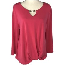 JM Collection Women Large L Top Long Knotted Front Flare Sleeves Stretch... - $24.72