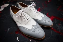 Handmade Men's White and Gray Leather Wing Tip Brogues Style Oxford Shoes image 4