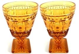 Indiana Glass Colony Park Lane Amber Wine Juice Glass 4 1/2 oz SET of 2 ... - $13.85