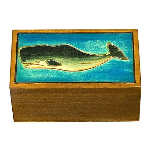 Sperm Whale and Ocean Decorated Polish Jewelry Keepsake Box - $18.80